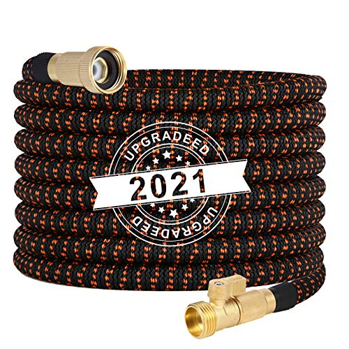 Kxx Expandable Garden Hose 50FT - Strong Durable 3750D | 4-Layers Latex Core Expandable Water Hose,3/4 No-Rust Brass Connector with Pocket Protectors,Kink Free Flexible Garden Water Hose
