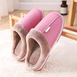 Zapatillas De Casa Para Mujer,El Otoño Y El Invierno Cálido Antideslizante Zapatillas De Algodón Rosa Suave Cuero Impermeable Moda Zapatillas De Felpa Inferior Para El Silencio Interior Transpirabl