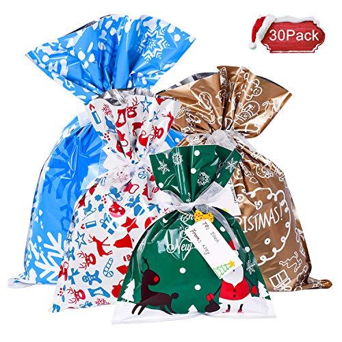 YQing 30 Pezzi Sacchetti Caramelle Natalizi, Sacchetti Regalo Natalizi Coulisse Sacchetti Portaconfetti Set Sacchetti Caramelle Confezioni Regalo Sacchetti per Festa di Natale, festa, regalo