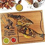 Tabla de cortar de madera con grabado personalizado, diseño de pescador, tabla de madera, tabla de pan, regalo de pescador, idea de regalo para hombres, 40 x 30 cm