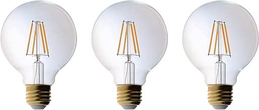 3 Pack Bioluz LED Pendant Light Bulb, Clear Filament LED G25 Globe 40 Watt Replacement (Uses 4.5 Watts) Warm White (2700K) LED Light Bulb 470 Lumens UL Listed & Great Vanity Bulbs