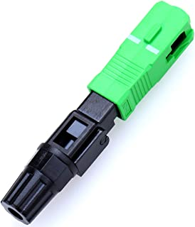 FTTH SC/APC-P Single-mode Optical Fiber Cable Quick And Fast Connector Adapter for CATV Network( 10Pcs Green Black)