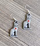 Egyptian Cat Earrings Bastet Silver Goddess Pewter Kitty Cat Jewelry