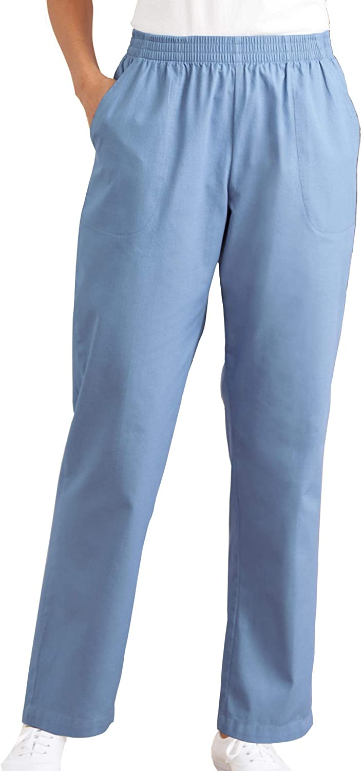 AmeriMark Women's Woven Pull-On Comfort Fit Pants Straight Leg with Side Pocket