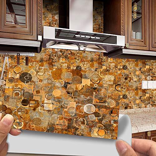 Hiseng 12 Piezas Adhesivos Decorativos para Azulejos Pegatinas para Baldosas del Baño/Cocina Estilo Geométrico Retro Resistente al Agua Pegatina de Pared (Patrón de Color Madera)