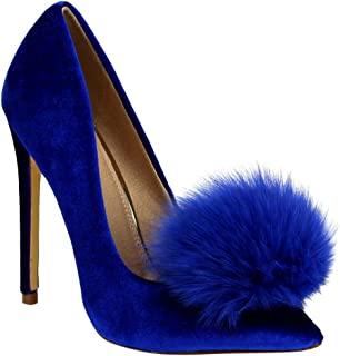 Affair Velvet Pointy Toe Stiletto High Heel Fur Pom Slip On Pump Slide Shoe Blue
