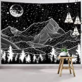 Hexagram Mountain Tapestry Moon Tapestry Wall Hanging Black and White Forest Tree Wall Tapestry Home Decor