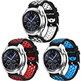 CreateGreat for Samsung Galaxy Watch 46mm, Gear S3 Soft Replacement Breathable Sport Bands with Air Holes and...