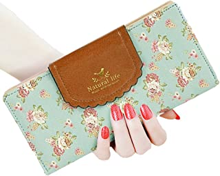 Womens Long Cute Floral Wallet Clutch,Gift for Her