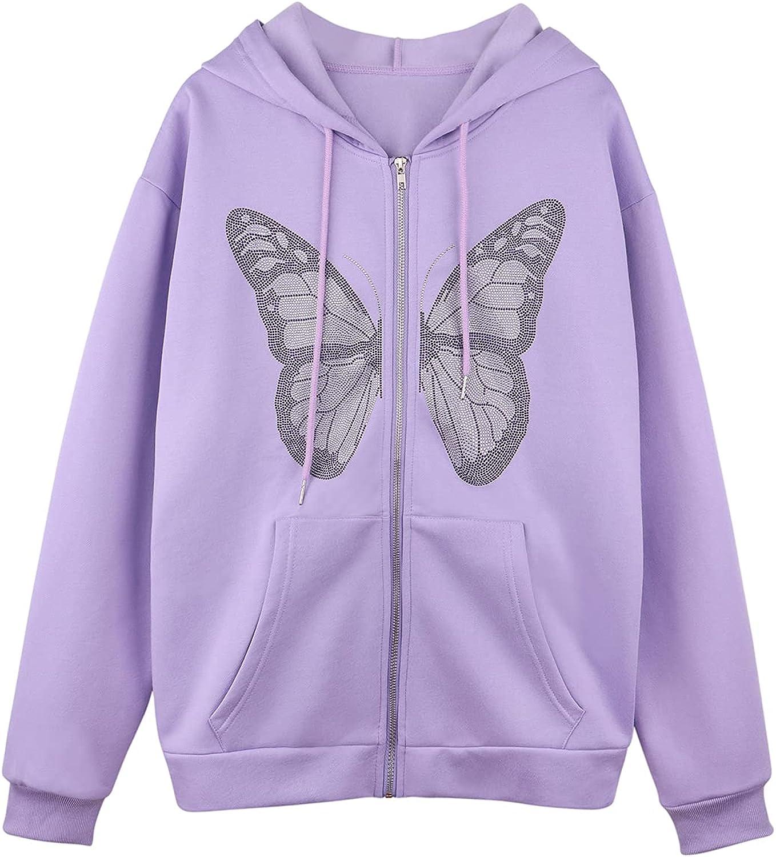 Meladyan Women's Y2K Oversized Butterfly Rhinestone Graphic Hoodie Jacket Full Zip Up Premium Fleece Hooded Sweatshirt