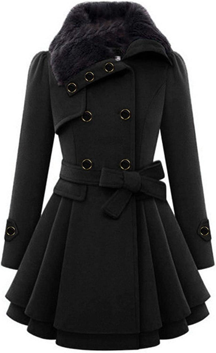 Amaeen Coats for Womens Fashion Double Breasted Belt Coat Mid Length Plus Cashmere Overcoat Loose Soft Casual Jacket