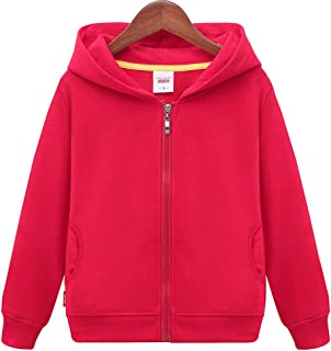 Unisex Children Solid Zip-Up Hooded Sweatshirt Toddler Baby Boys Girls Classic Hoodie Cotton Tops Blouse