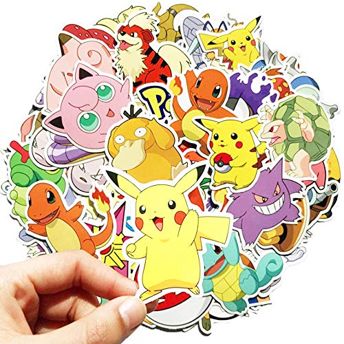 QICI 100 pcs Pokemon Stickers Children's Party Stickers Pikachu Laptop Stickers Pack Decals Cool Cartoon stickers for Skateboard Water Bottles Travel Box Car Metope