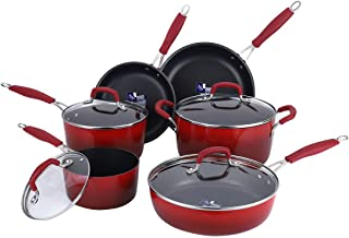 Momscook Cookware Set 10-Piece Classic Brights Hard Enamel Aluminum Nonstick Cookware Set with Silicone Handles and Tempered-glass Lids, Red Gradient