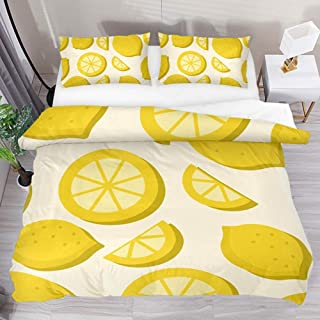jonycm 3-Piece Bedspread Set Lemon Tropical Fruit Pattern Summer 3Pcs Juego De Cama Personalizar Colcha Edredón Moderno con 2 Fundas De Almohada 1 Funda Nórdica Juego De Funda Nórdica 177X218Cm