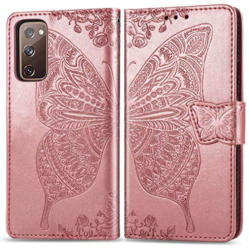 ZTOFERA Funda con tapa para Samsung A52, diseño de mariposas, cierre magnético, ranuras para tarjetas, función atril, correa de muñeca, funda delgada para Samsung Galaxy A52/A52 5G, color oro rosa