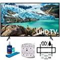 Samsung RU7100 LED Smart 4K UHD TV 2019 Model with Slim Flat Wall Mount Kit Ultimate Bundle for 45-90 inch TVs, Screen Cleaner for LED TVs & SurgePro 6-Outlet Surge Adapter