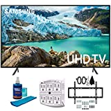 "Samsung 50"" RU7100 LED Smart 4K UHD TV 2019 Model (UN50RU7100FXZA) with Slim Flat Wall Mount Kit Ultimate Bundle for 45-90 inch TVs, Screen Cleaner for LED TVs & SurgePro 6-Outlet Surge Adapter"