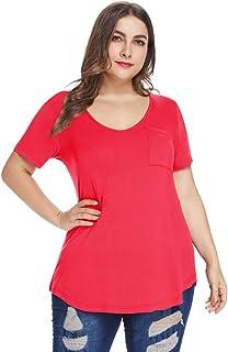 MONNURO Womens Plus Size Shirts Casual V Neck Short...