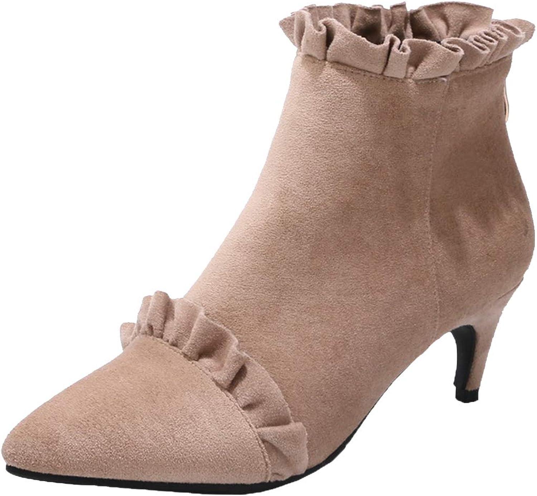 Vitalo Women Kitten Heel Pointed Toe Ankle Boots Zip Up Autumn Winter Boots