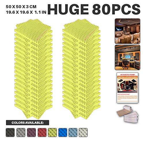 Acepunch 80 Paquet JAUNE Alvéolée Mousse Acoustique Panneau Insonorisation Sonorisation Absorbeur Traitement avec Ruban Adhésif 50 x 50 x 3 cm AP1052