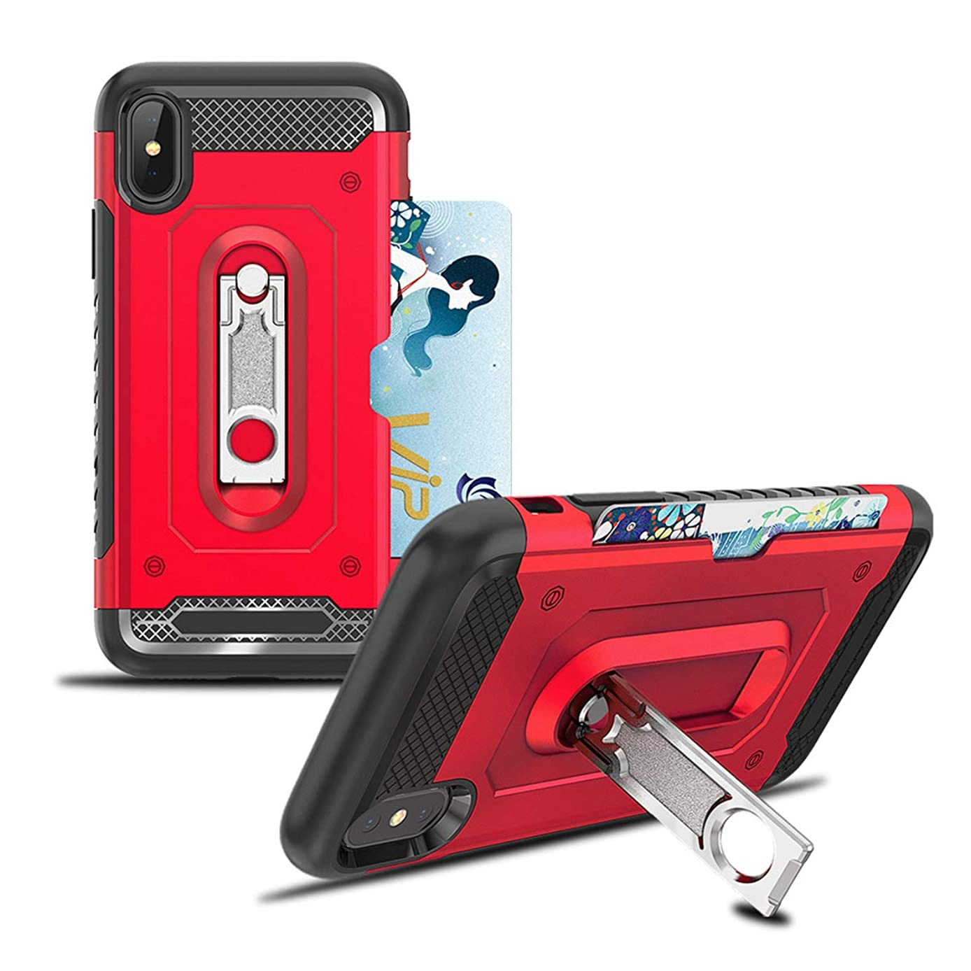 GLBYDLO Metal Kickstand Case Compatible with iPhone XR, 2 in 1 Hybrid Hard PC Cover & Soft Silicone Bumper Heavy Duty Slim Shockproof Full Body Rugged Protective Phone Case for iPhone XR, Red