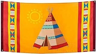 Boland 44103 – dekorationsfana indianer, 1 st., storlek 90 x 150 cm, tipi-tält, vildväst, dekorationsbanderoll, väggdekora...