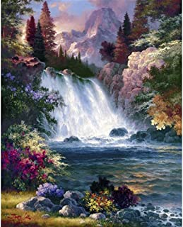 DIY Paint by Diamond Kits for Adults, Kids, Home Room Office Decoration. Gift Presents for Him Her Waterfall 11.8x15.7in 1 Pack by AxiEr