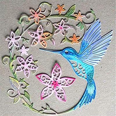 Hummingbird Cutting Dies,Letmefun Metal Cutting Dies Stencils Flower Wreath Dies Scrapbooking Card Making Album Embossing Crafts Die Cut 2019