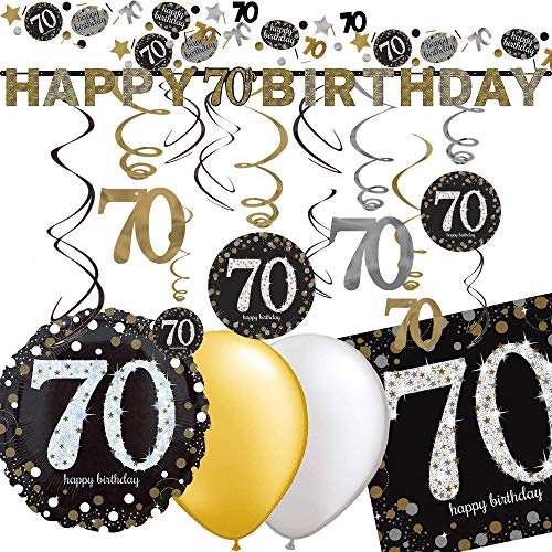 70th Birthday with Decoration Set * Sparkling * | 43 Pieces with Foil Balloon + Garland + Ceiling Decoration + Napkins + Confetti + Balloons | 70 Decoration Party Set Black Gold Silver
