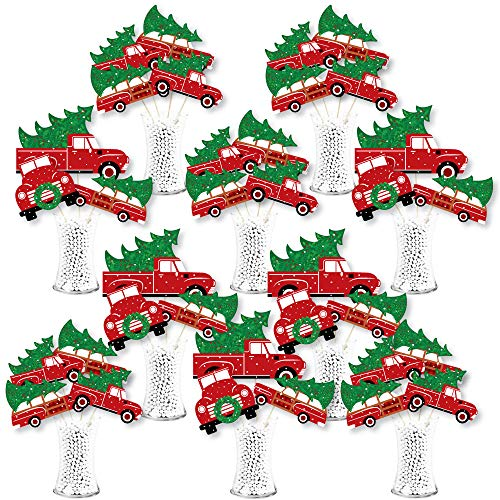Big Dot of Happiness Merry Little Christmas Tree - Red Truck and Car Christmas Party Centerpiece Sticks - Showstopper Table Toppers - 35 Pieces
