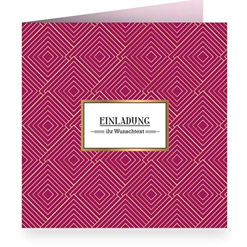 3x Edle grafische Einladungskarte mit Wunschtext, rot, zur Hochzeit, Geburtstag mit Innendruck (quadratisch 15,5cm + Umschlag) mit Art Deco Muster: Einladung- große XL Karte