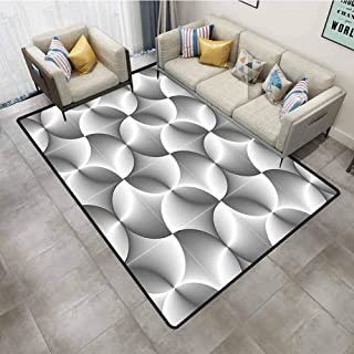 Outdoor Rugs for patios Black and White Half Toned Abstract Circles Wavy Lines Modern Technology Themed Tile Grey Black White Kids Carpet playmat Rug 4'x6'