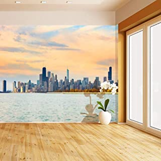 downtown city skyline of chicago at dawn lake michigans and pictures Self Adhesive Peel and Stick Wallpaper Self Stick Mural Photos Home Wall Paper Sticker Wall Mural Decals Fresco Posters Removable