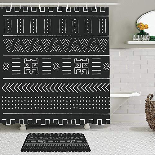 Juego de cortinas y tapetes de ducha de tela,Diseño tribal de Perú negro este blanco con patrón geométrico libre perua,cortinas de baño repelentes al agua con 12 ganchos, alfombras antideslizantes