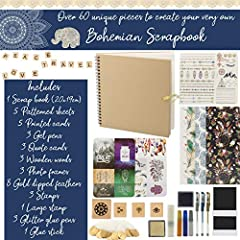 KreativeKraft Scrapbook Accessories Kit with Scrapbooking Supplies, Over 60 Creative Items Including Stickers, Glitter Glue Pens, Paper, Photo Album, Letters, Quotes, Embellishments, Gift for Her #4