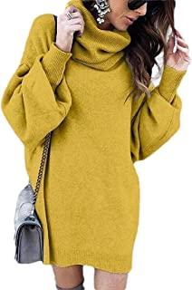 Womens Turtleneck Winter Warm Loose Knit Oversized Pullover Sweater Dress
