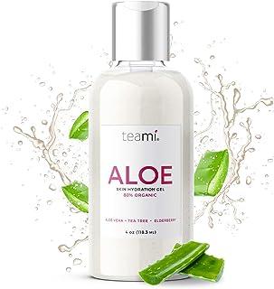 Teami Organic Aloe Vera Gel - 100% Natural with Pure Manuka Honey, Tea Tree, and Rosemary Oil - Bursting with Moisturizing...