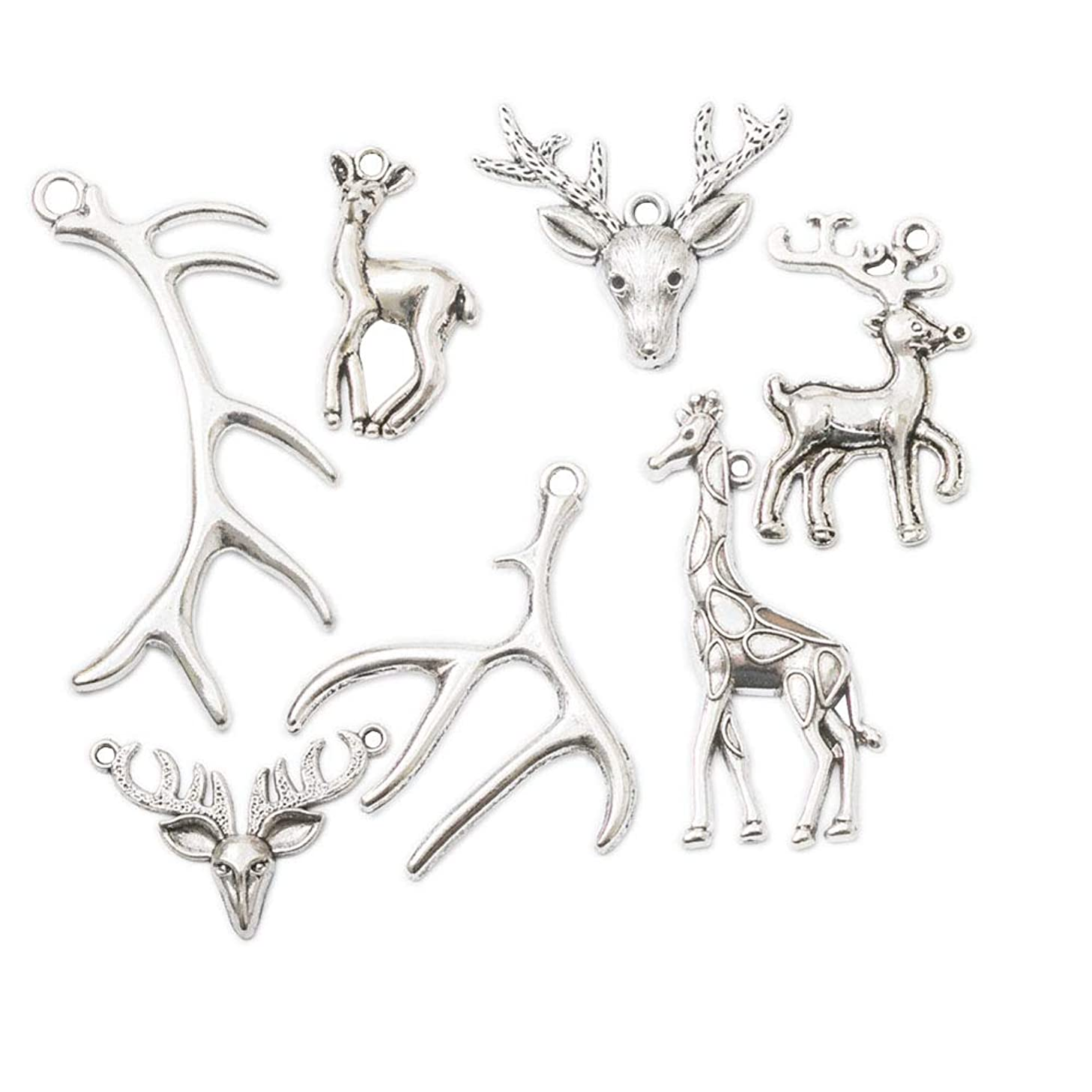 35pcs Mixed Style Vintage Antique Silver Alloy Animal Deer Antler Charms Pendant Jewelry Findings for Jewelry Making Necklace Bracelet DIY (35pcs Deer)