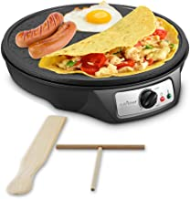 Nonstick 12-Inch Electric Crepe Maker – Aluminum Griddle Hot Plate Cooktop with..