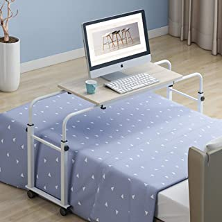 Height Adjustable Overbed Table, Laptop Cart Computer Table Food Tray Desk Rolling Medical Table Upgraded New Version-i 80...