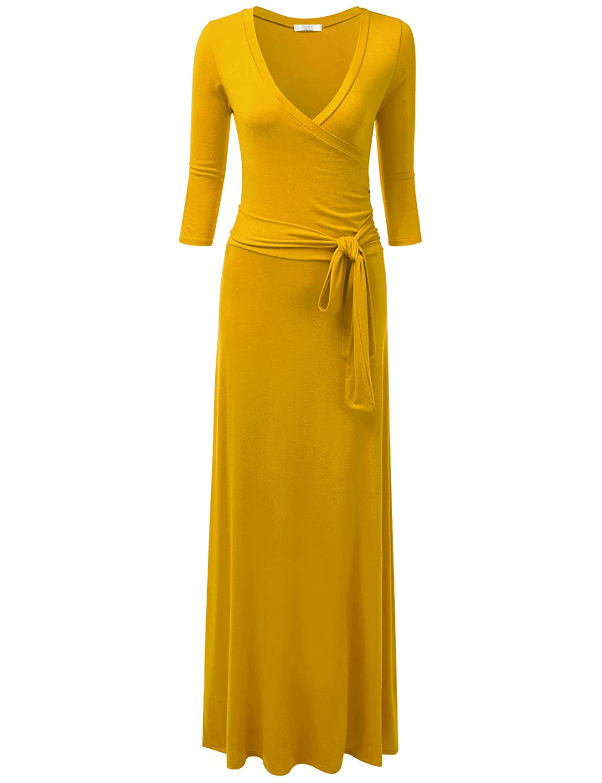 NINEXIS Women's V-Neck 3/4 Sleeve Waist Wrap Front Maxi Dress ujkchep923765