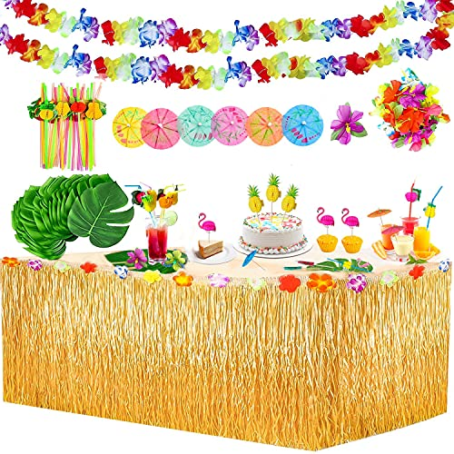 113 piezas de decoración tropical para fiesta con tabla de 9 pies, falda hawaiana, hojas de palma, flores hawaianas, paraguas coloridos y pajitas de frutas 3D para decoración de mesa hawaiana Luau