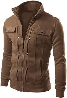 XINHEO Men's Trendly Outwear Zip-up Plus Velvet Stand up Collar Sweatshirts