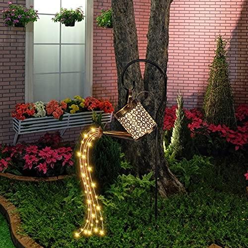 Creative Wrought Iron Hollow Kettle Shower Floor Plug Lights, Luminous and Beautiful Stars Solar Watering Fairy Lights, Shower Irrigation Tank Lights String, Garden Art LED Lights (Including Bracket)