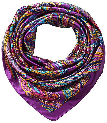 35 x 35 Ladies Satin Square Silk Like Hair Scarves and Wraps Headscarf for Sleeping Purple Paisley