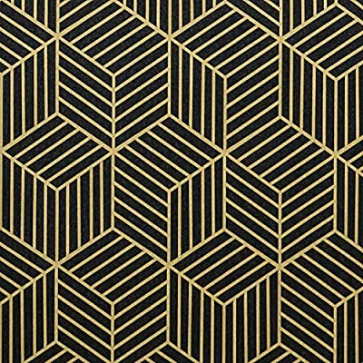 Amazon - 50% Off on Black and Gold Wallpaper Modern Geometric Peel and Stick Wallpaper
