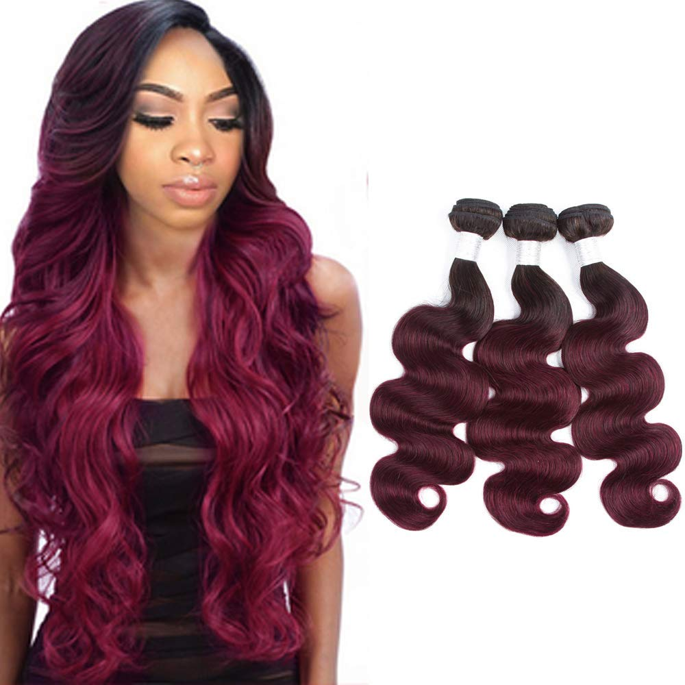 Brailian Body Wave Remy Ombre Hair Baltimore Mall Max 59% OFF Bundles Red Bundle