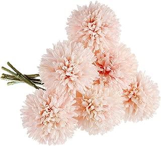 CQURE Artificial Flowers, Fake Flowers Silk Plastic Artificial Hydrangea 6 Heads Bridal Wedding Bouquet for Home Garden Party Wedding Decoration 6Pcs (Pink Champagne)