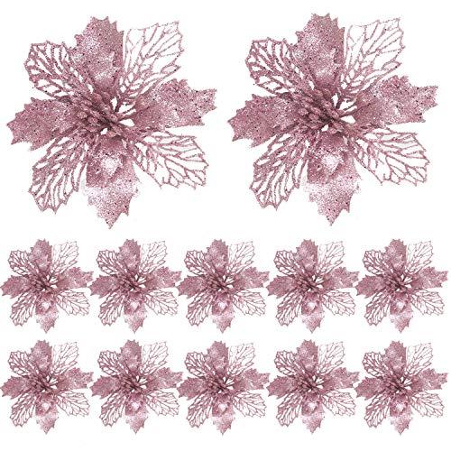 FUNNY HOUSE Christbaumschmuck Glitter Poinsettia 12 Stücke Weihnachtsschmuck Baumschmuck Künstliche Weihnachtsblumen Deko für Weihnachtsbaum Weihnachtskranz Ornamente (Roségold)